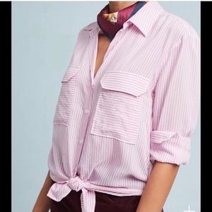 Anthropologie | Maeve Pink White Stripe Top Medium